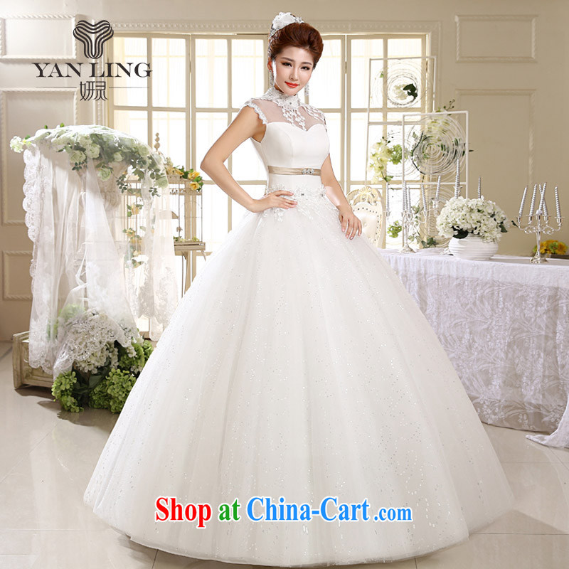 2015 Korean Princess white lace retro with summer tie-up collar wedding HS 537 white XL