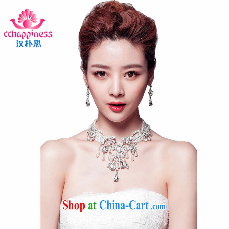 Han Park _cchappiness_ 2015 New Flash drill luxury Korean-style necklace female clavicle link bridal wedding jewelry two-piece