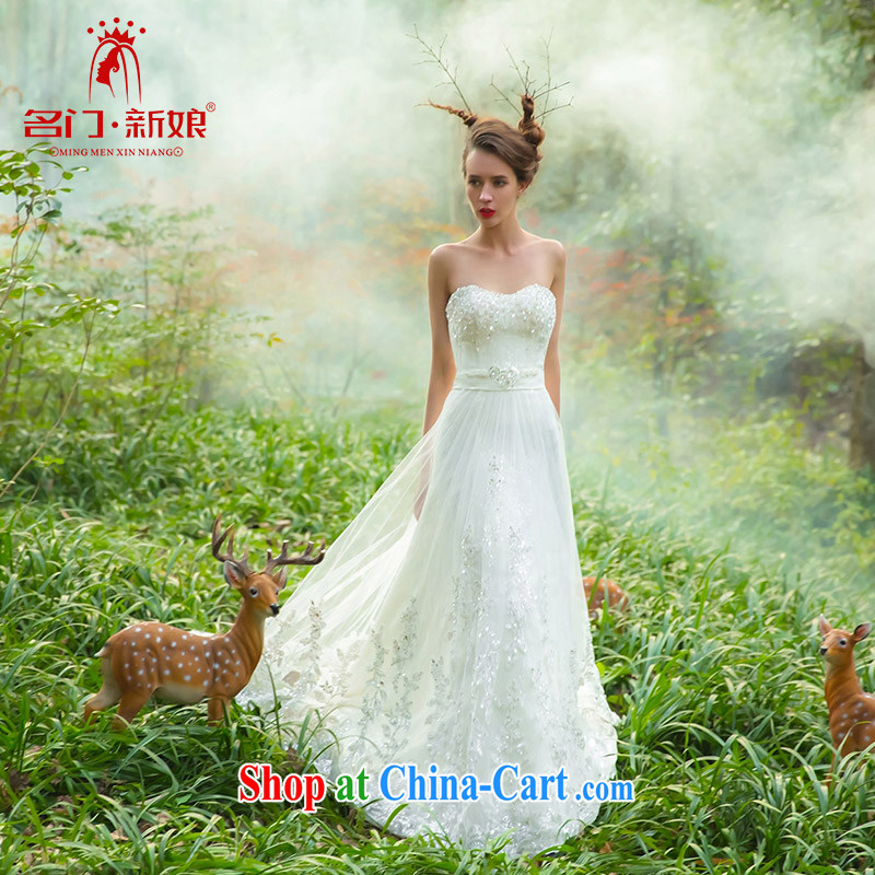 The bride's wedding dresses new 2015 original wedding card design high-end custom 2502 white M