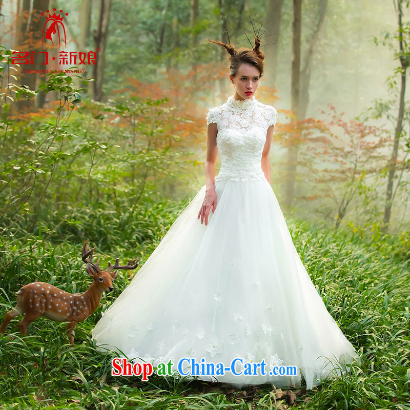 The bride's wedding dresses new 2015 original wedding dream forest lace a shoulder 2528 white M
