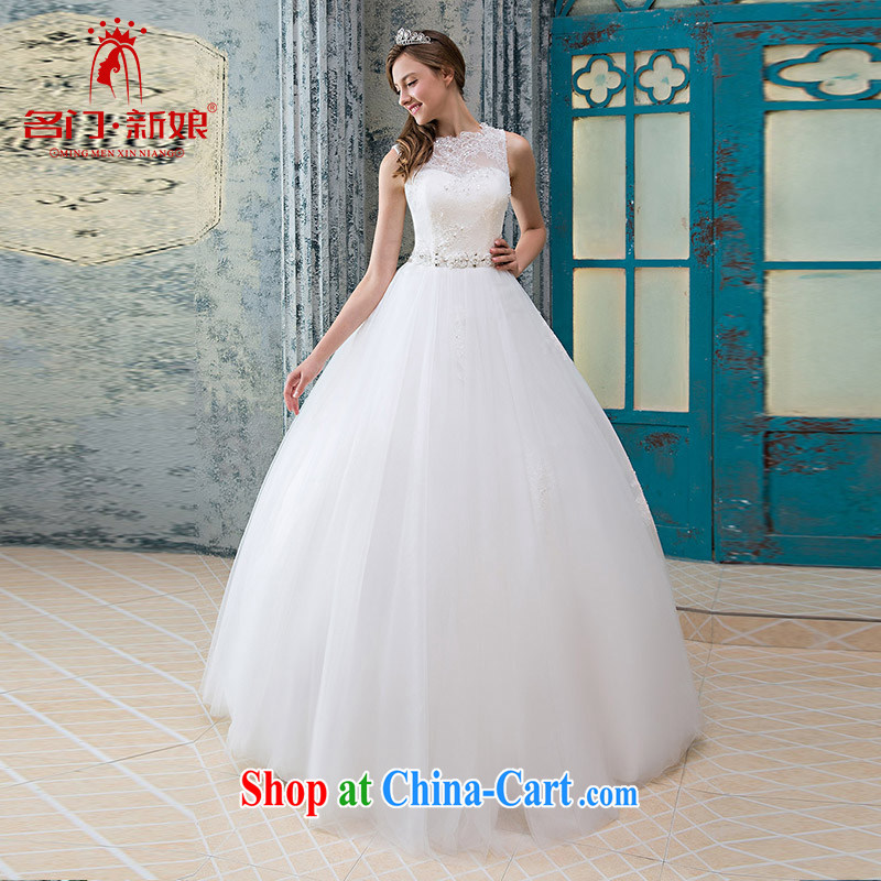 The bride's wedding dresses lace field shoulder wedding dresses stylish and simple wedding original 951 white L