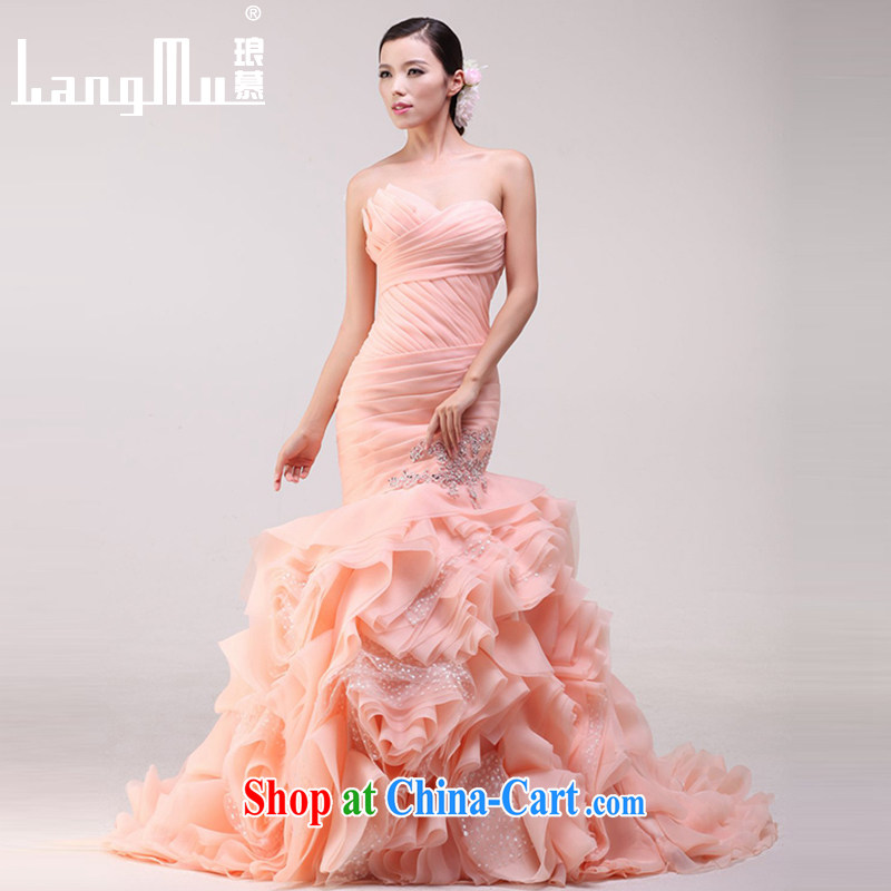 In Luang Prabang in 2015 OF NEW bridal wedding dresses vera Wang wiped his chest pack and the waist floral wedding Wei model meat pink high-end custom