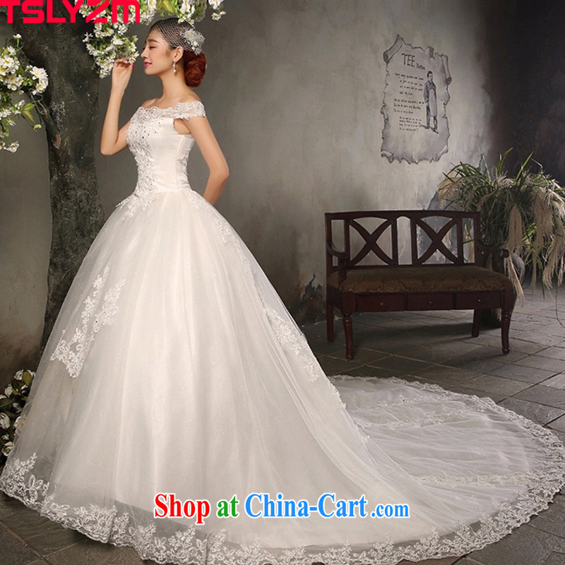 A Tslyzm field shoulder long-tail wedding dresses 2015 spring and summer new marriages beauty graphics thin retro Satin wedding dress white XXL, Tslyzm, shopping on the Internet