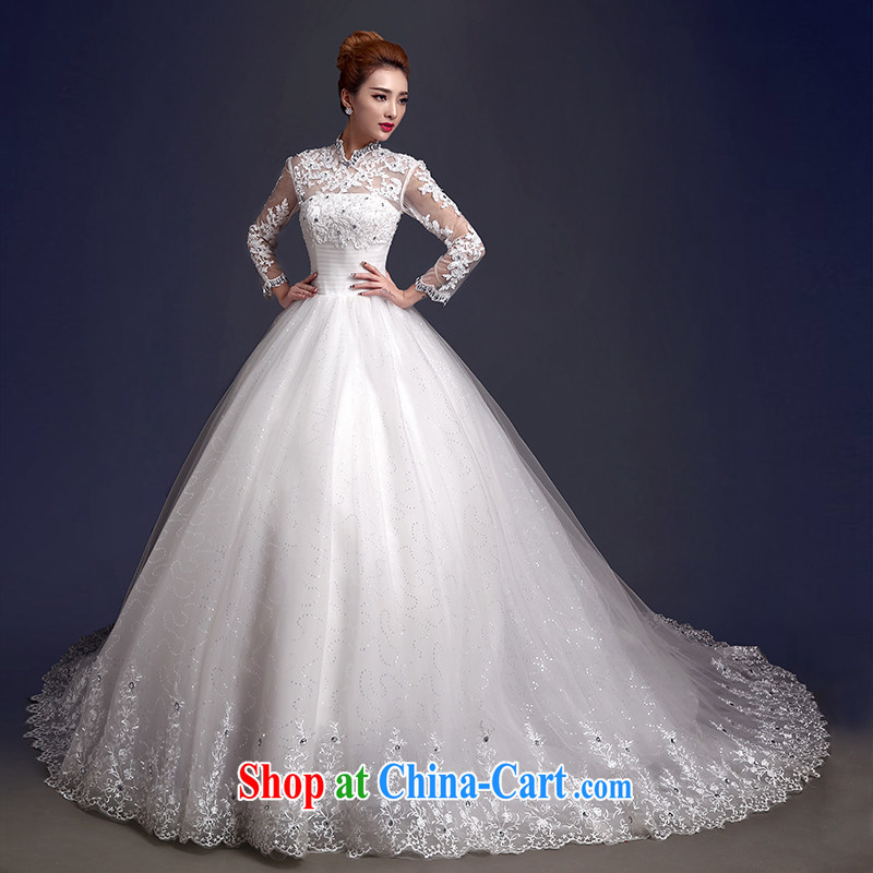 The color is still Shakespeare's Bride With wedding dresses 2015 new wedding dresses, winter thick retro back exposed long-sleeved wedding tail winter white high-end made pro-contact Customer Service MM