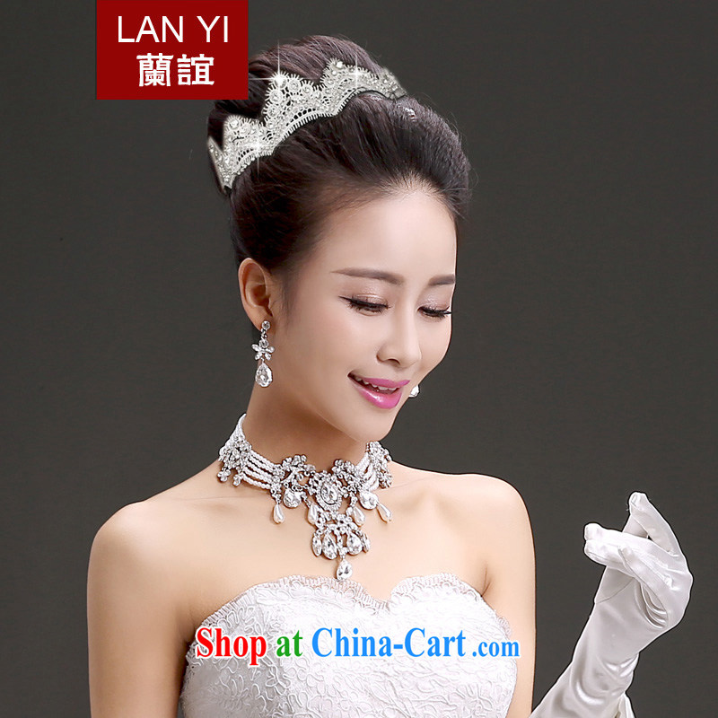 Friends, bride and Korean-style lace manually insert drill marriage hair accessories wedding dresses crown with white
