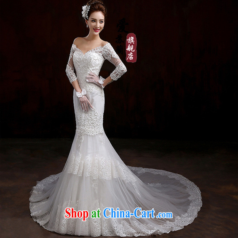 2015 new long-sleeved wedding dresses winter drag and drop the field shoulder Korean version the code lace custom bridal wedding dresses white XXL