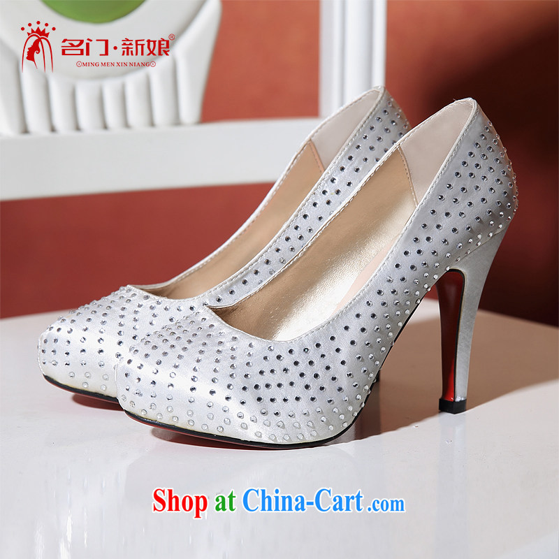 The bride's white Korean high-heel bridal shoes 2015 New Products The parquet drilling bridal shoes 095 39
