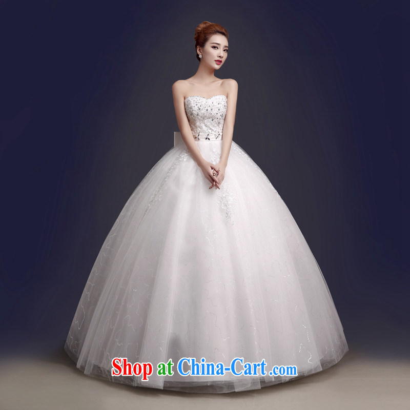 The color is still SA 2015 Korean Bridal Fashion white tie Lace Embroidery parquet drill shaggy dress dress wiped his chest, wedding white white high-end made pro-contact Customer Service MM
