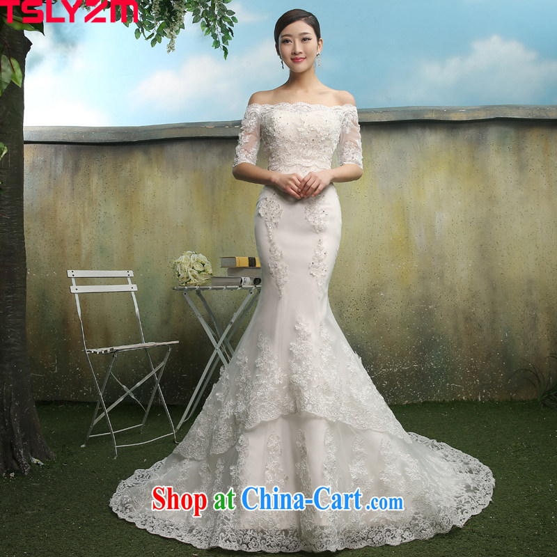 Tslyzm bridal lace crowsfoot wedding dresses trailing the Field shoulder bare chest two through 2015 spring and summer new collection beauty waist graphics thin cuff in paragraph A XL