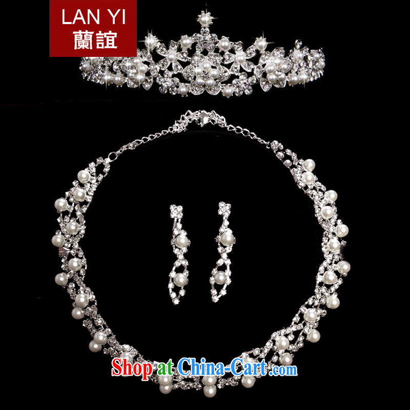 Friends, bridal wedding dresses accessories Korean version of Crown and ornaments necklace earrings 3 piece jewelry bridal wedding jewelry 3 piece set