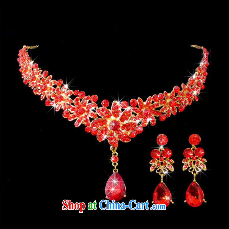 Han Park (cchappiness) bridal crown and ornaments red and flower-decorated the crown Pearl Chinese original water drilling bridal jewelry Red two-piece