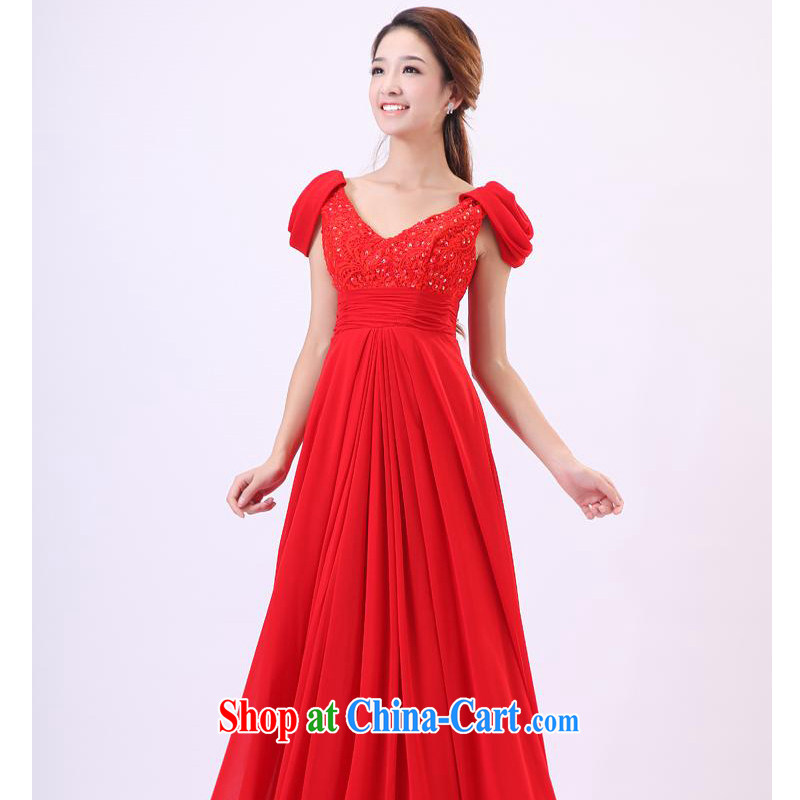 Mr Mak Hee-new stylish long gown bridal wedding wedding wedding toast serving red lace, small dress red XL/170