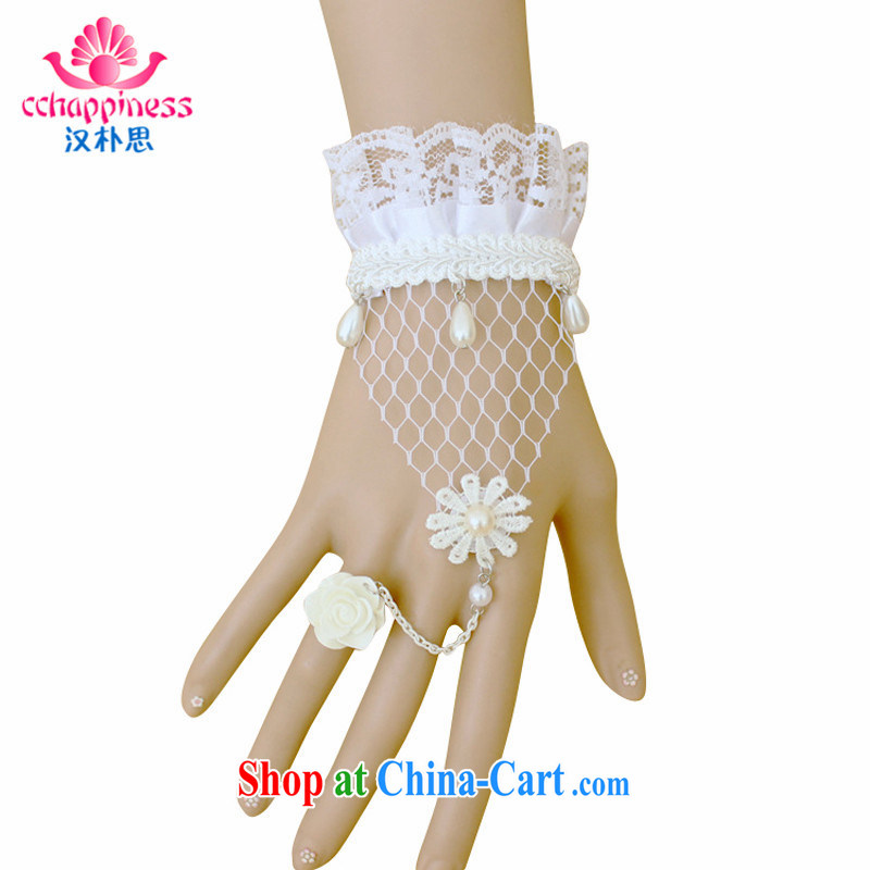 Han Park _cchappiness_ Korean White Rose lace Pearl girl jewelry bracelet with ring one link bridal jewelry items