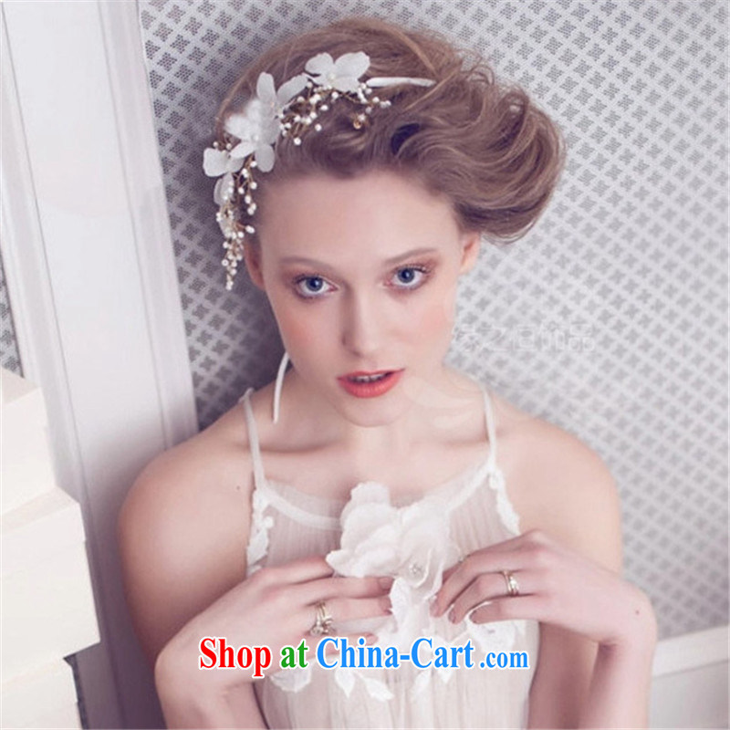Han Park _cchappiness_ bridal head-dress with flowers Korean-style manual Pearl marriage and spend, wedding hair jewelry