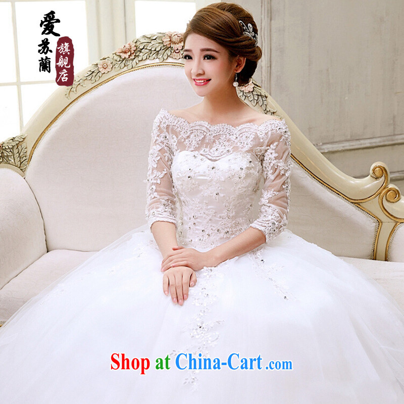 new bride's wedding dresses lace a Field shoulder for half-long-sleeved Korean Princess retro wedding dresses, sleeved white. size does not return does not switch
