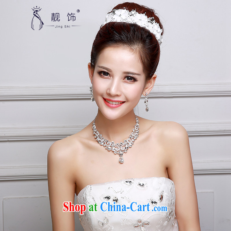 Beautiful ornaments 2015 new bridal Crown necklace earrings jewelry 3-Piece wedding dresses accessories accessories white factory direct