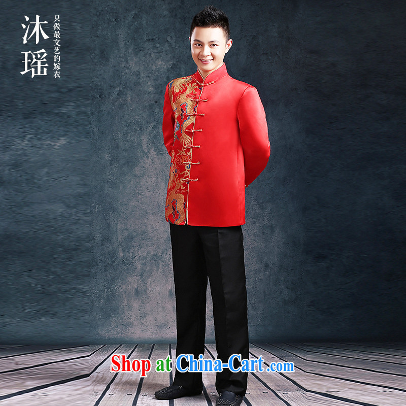 Mu Yao Chinese style wedding summer 2015 men's wedding dress cloud Kam texture Chinese men fall and winter new costumed man Soo wo service bows 6412 single-sided Dragon M brassieres 110 CM