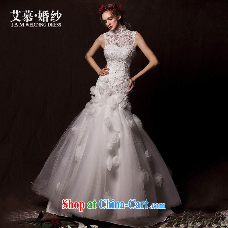 On the wedding dresses new 2015 spring/summer and winter -- crowsfoot Korean version with Openwork wedding white L