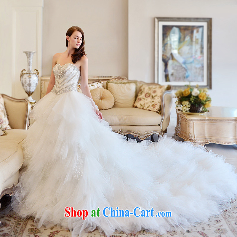 Full court, telecommunications, wedding dresses spring 2015 feather wiped his chest long-tail bridal wedding canopy skirts with paragraph 173 - M