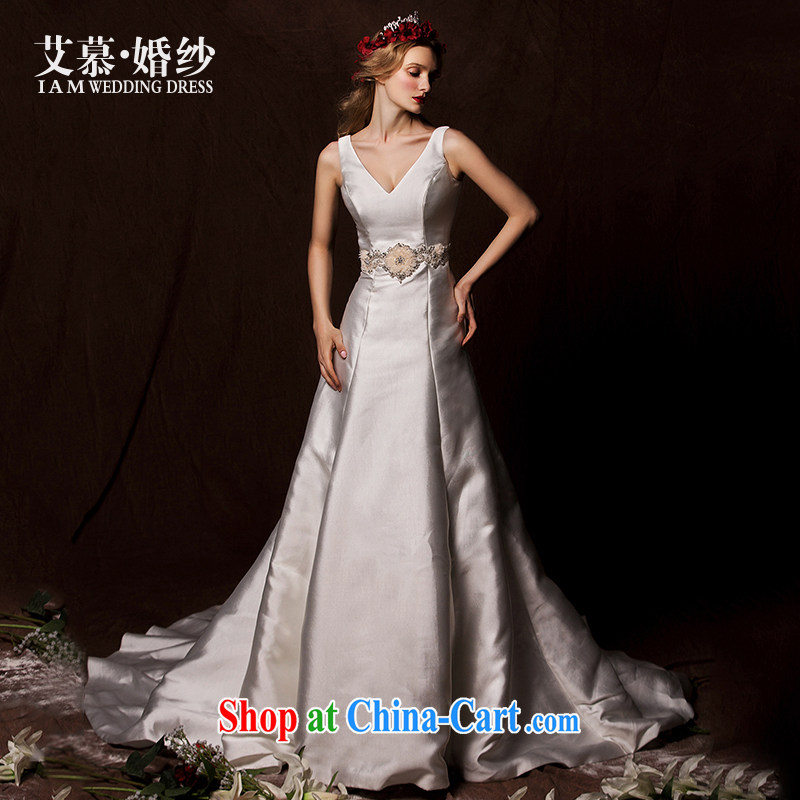 On the wedding dresses new 2015 Spring and Winter Ling spins Deep V high waist Satin long-tail wedding white tailored
