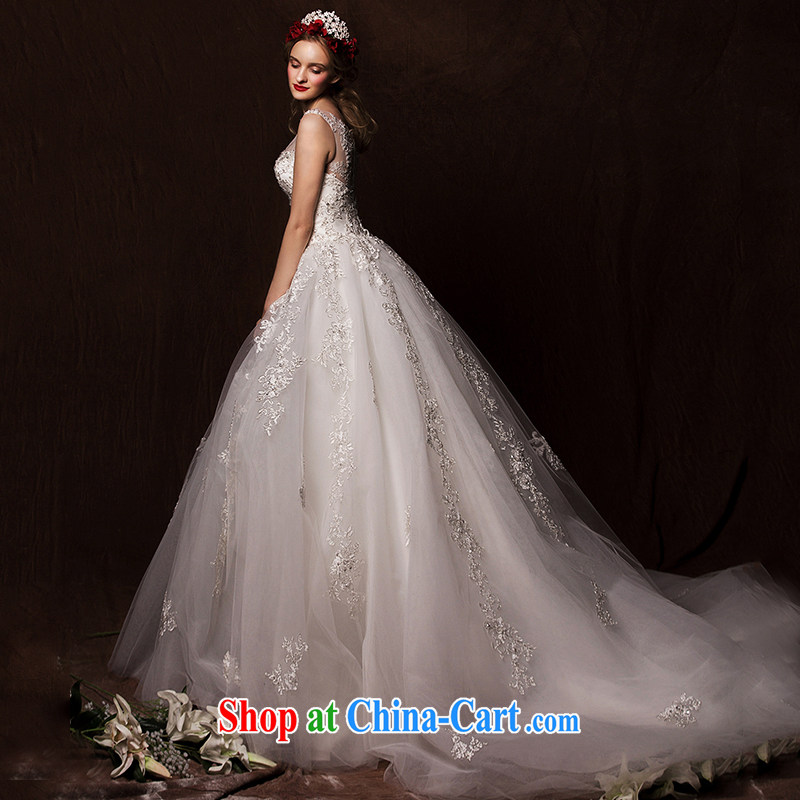 On the wedding dresses new 2015 Spring and Winter ideas cloud shoulders high waist shaggy dress lace long-tail wedding white M, AIDS, and, on-line shopping