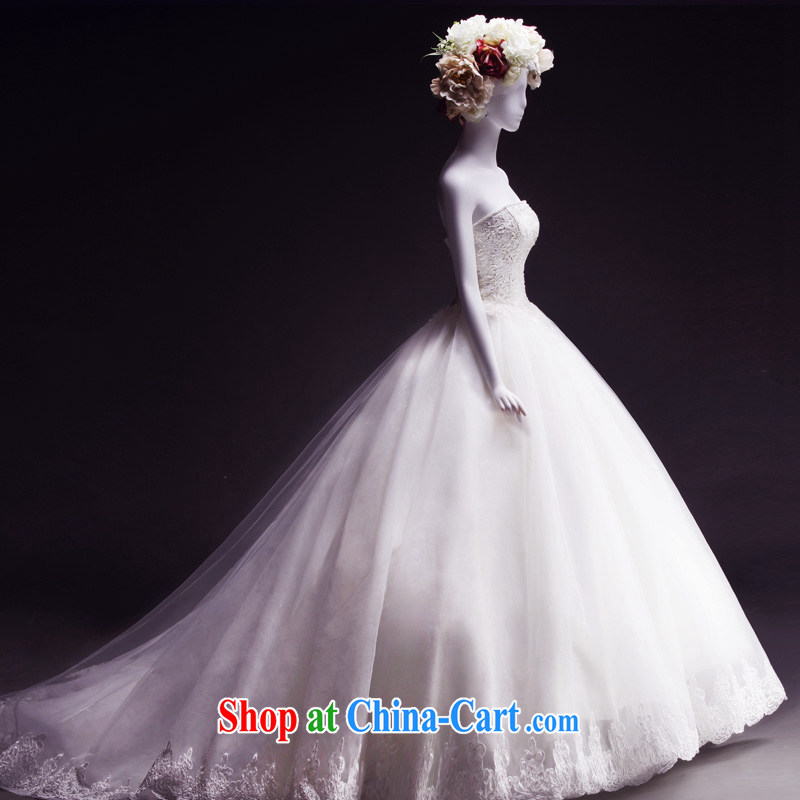 Full court, new wedding dresses new 2015 tail spring thick smears chest bridal wedding dresses sleeveless lace with paragraph 173 - M