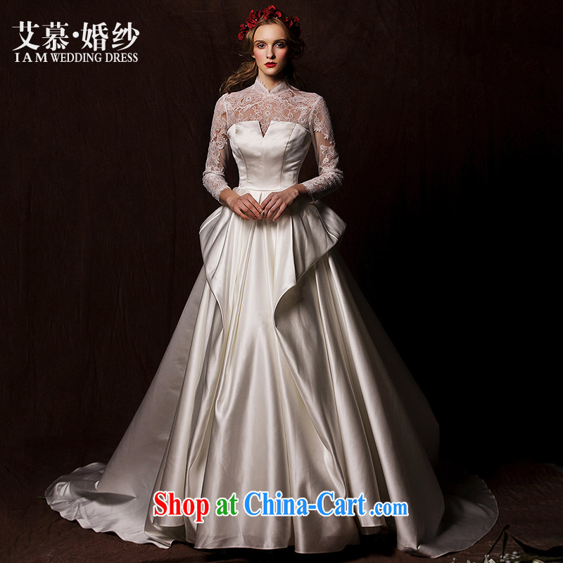 On the wedding dresses new 2015 Spring and Winter South fine lace long-sleeved retro Satin long-tail wedding white L