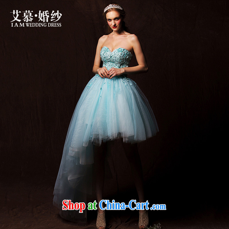 On the wedding dresses new 2015 Spring and Winter Blue Shadow wiped chest color personality short before long after marriage blue lake L