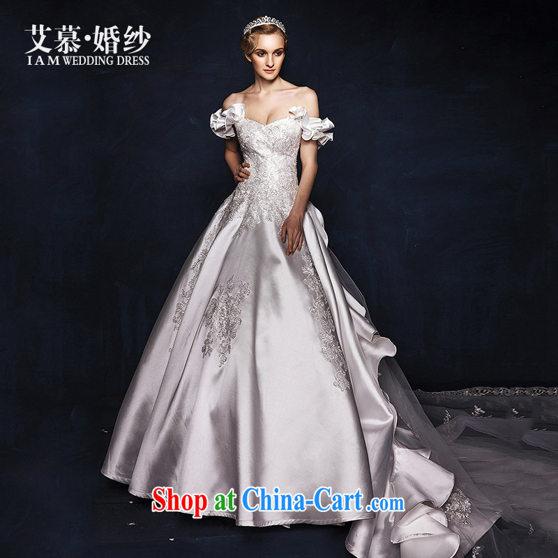 On the wedding dresses new 2015 Spring and Winter to erase any chest field shoulder lace long-tail wedding white L
