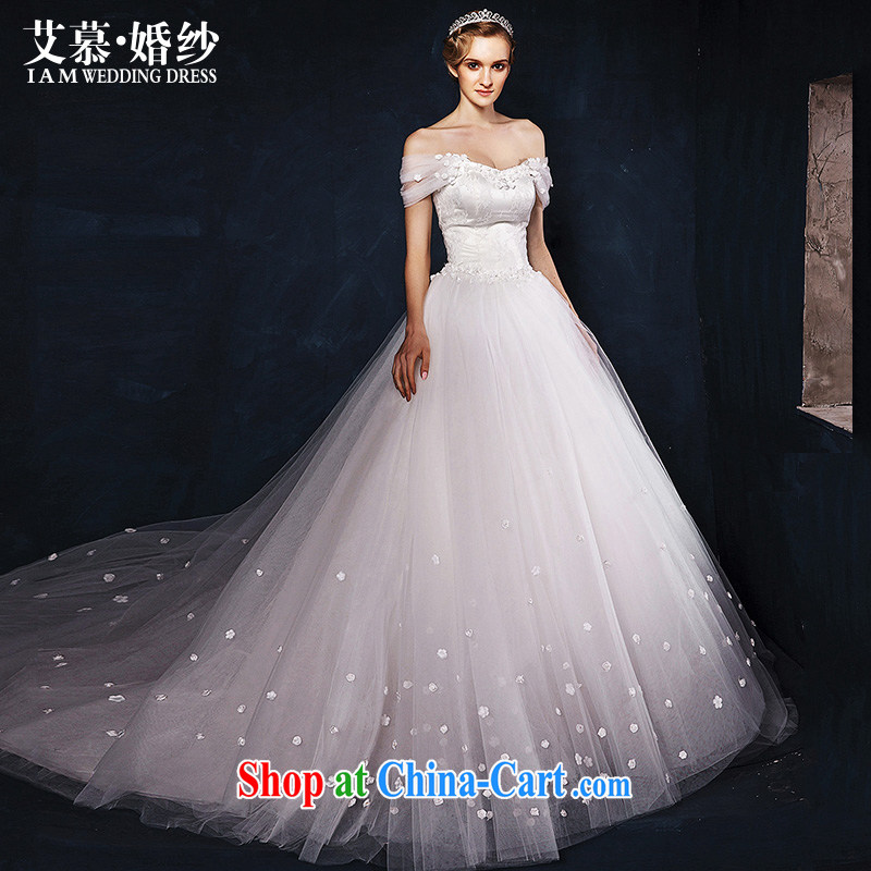 With the wedding dresses new 2015 Spring and Winter of bare-chest a shoulder-length tail stars with white L