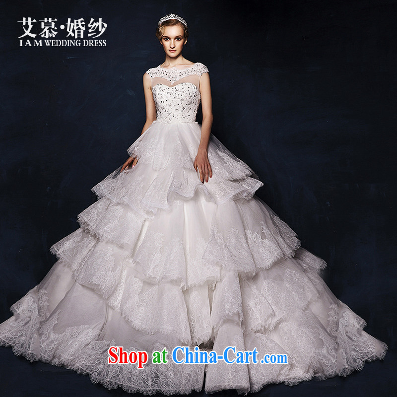 On the wedding dresses new 2015 Spring and Winter, detailed lace high waist shaggy dress tail wedding white L