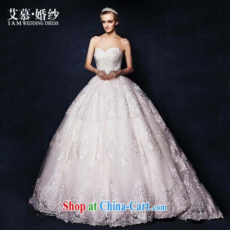 On the wedding dresses new 2015 Spring and Winter mute could erase chest lace shaggy dress long-tail wedding white L