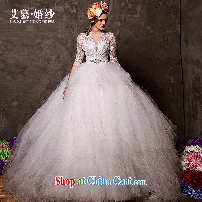 On the wedding dresses new 2015 Spring and Winter Ngai sponsors deep in V cuff lace with shaggy dress wedding white L