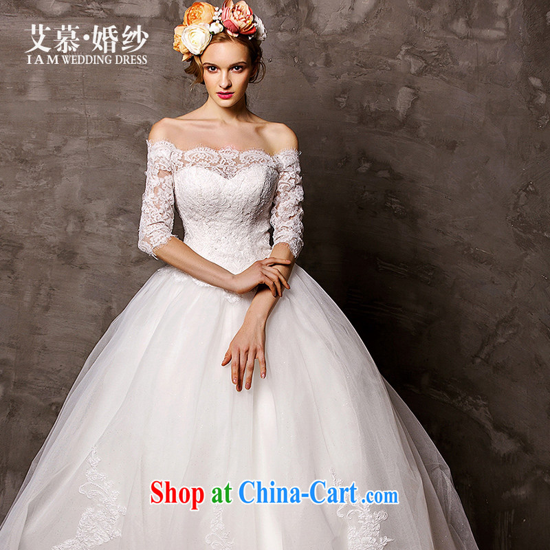 On the wedding dresses new 2015 spring and winter, according to long-sleeved one shoulder lace shaggy skirts trailing white L