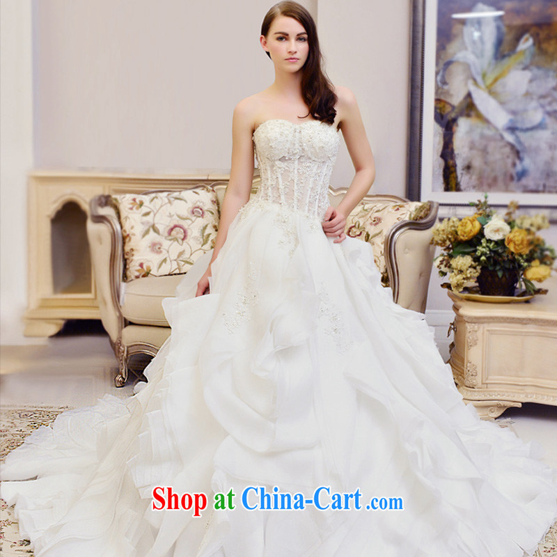 Garden wedding dresses new 2015 winter wiped chest white lace stylish tail tied with royal wedding tail 60 CM 173 - M