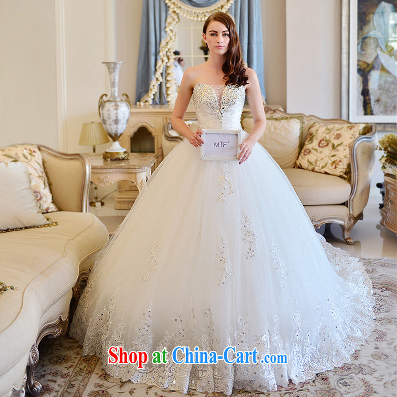 Garden wedding dresses new 2015 Winter Fashion Korean shaggy dress drill sweet tie-erase chest wedding tail 150 173 cm - M