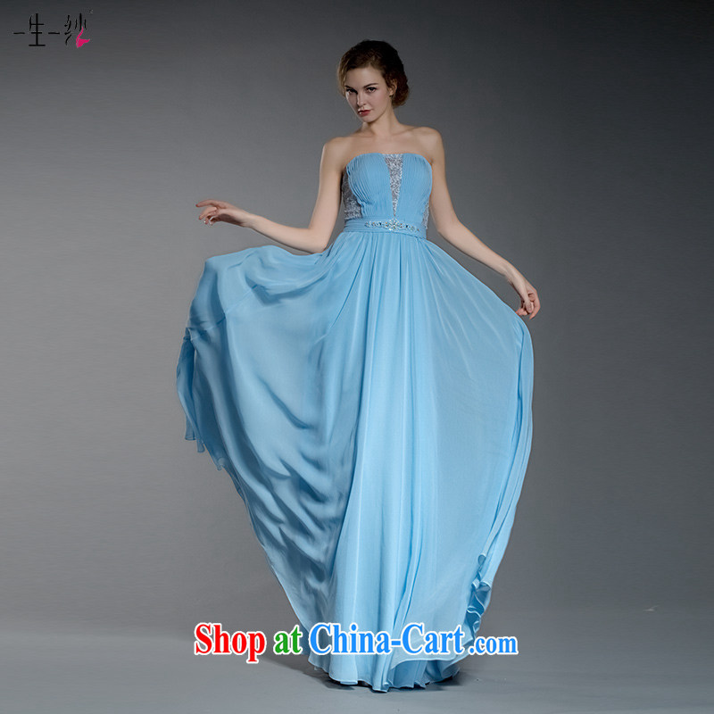 A yarn 2015 new Cinderella in blue dress bridesmaid dress lace bare chest beauty dresses annual 402501408 blue XL code 20 days pre-sale