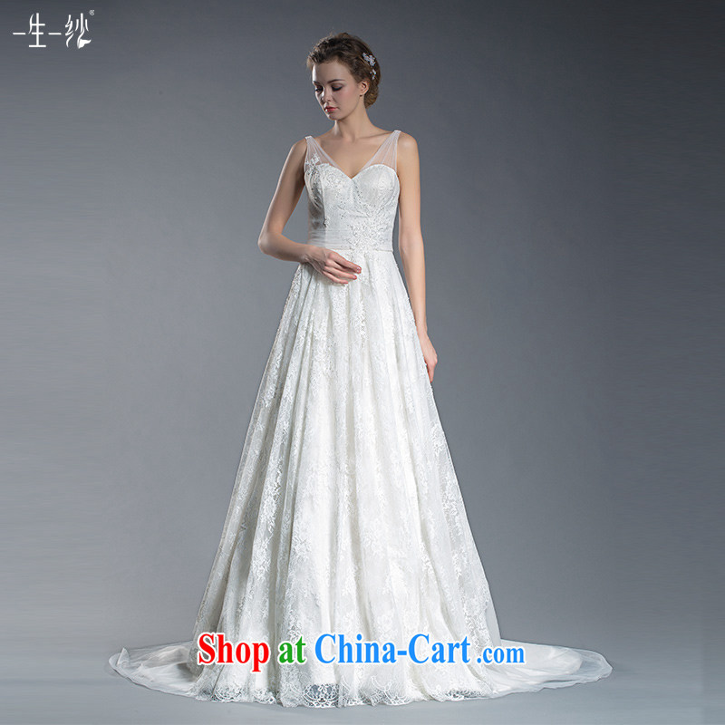 2015 new bridal lace shoulders V collar wedding high waist Korean flower-tail wedding pregnant large code wedding 401501379 white XL code 20 days pre-sale