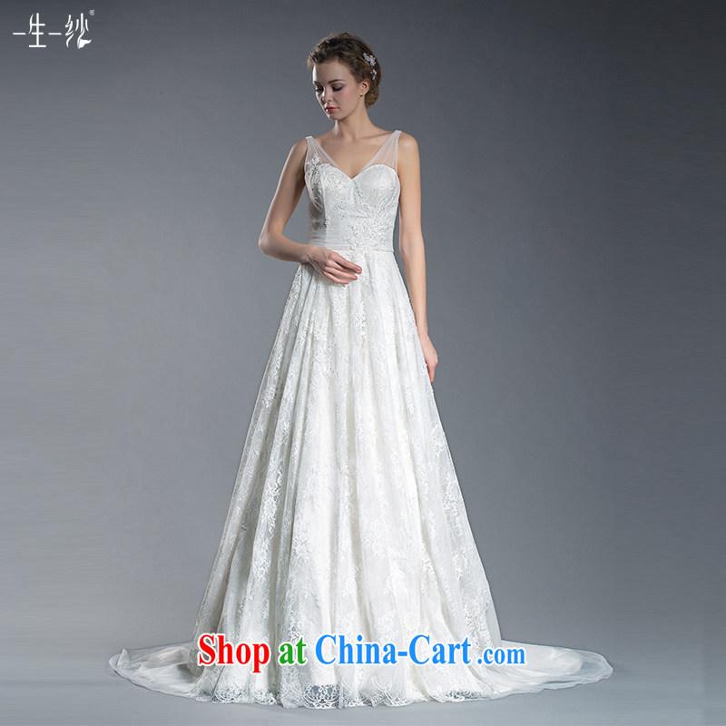2015 new bridal lace shoulders V collar wedding high waist Korean flower-tail wedding pregnant large code wedding 401501379 white XL code 20 days pre-sale