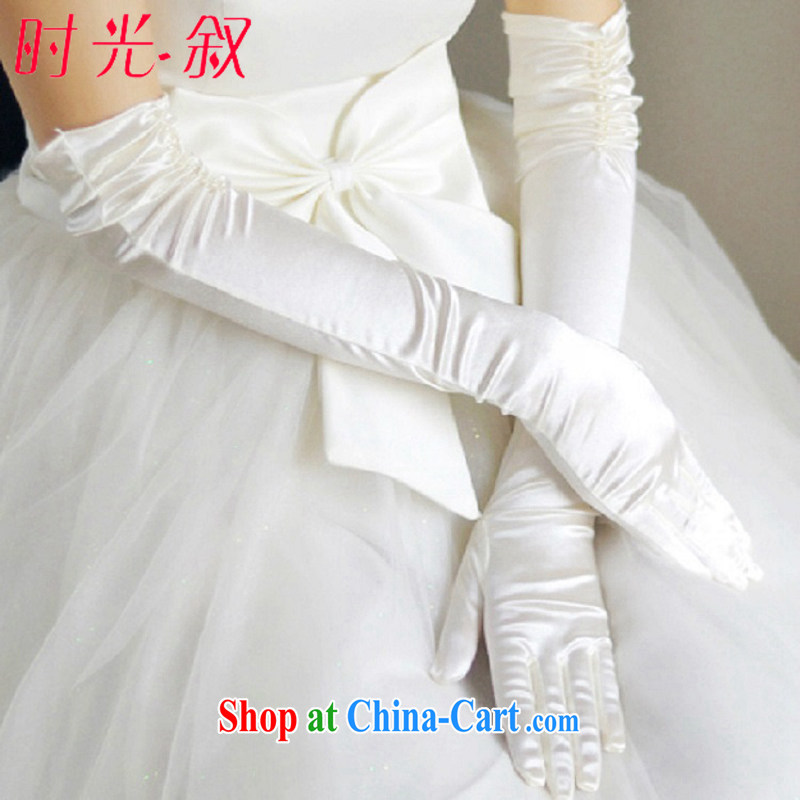 Time Syria winter new white wedding warm long wedding gloves warm winter Womens long bridal gloves