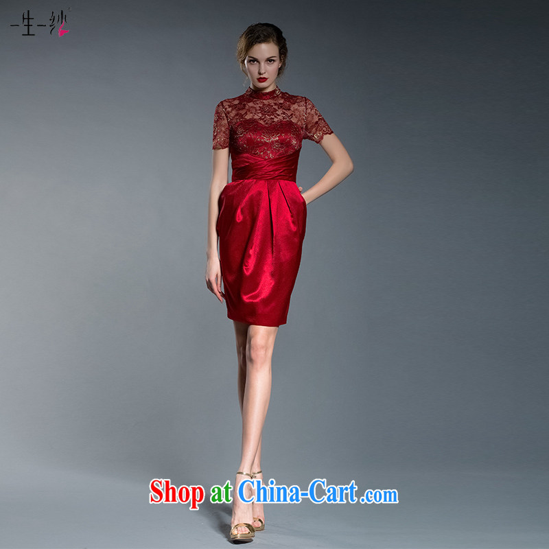 A yarn red short dress 2015 spring and summer new toast clothing antique Chinese lace cheongsam 402201243 red XXL code 20 days pre-sale