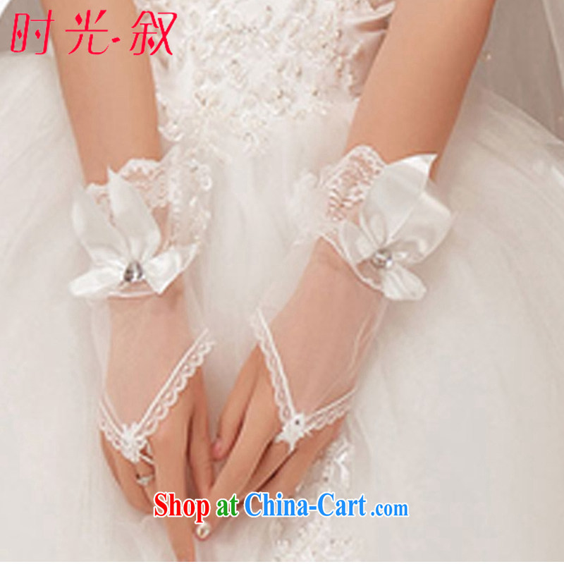 Time his bride's flower gloves Korean-style handmade lace white wedding accessories short wedding marriage Web yarn transparent gloves