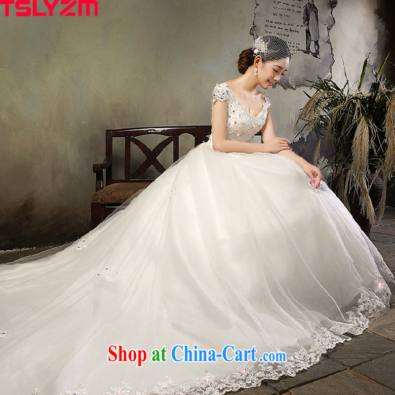 A Tslyzm field shoulder long-tail wedding dresses 2015 spring and summer new marriages V collar double-shoulder beauty lace retro wedding dress white tail wedding XL