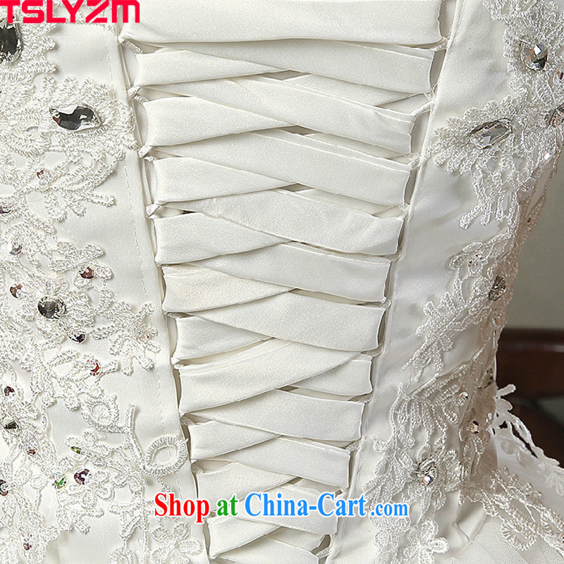 A Tslyzm field shoulder long-tail wedding dresses 2015 spring and summer new marriages V collar double-shoulder beauty lace retro wedding dress white tail wedding XL, Tslyzm, shopping on the Internet