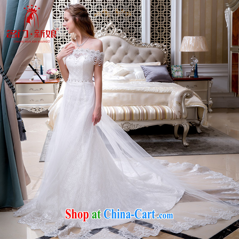 The bride's wedding dresses new 2015 field shoulder tail winter wedding at Merlion wedding 804 made 25 day shipping