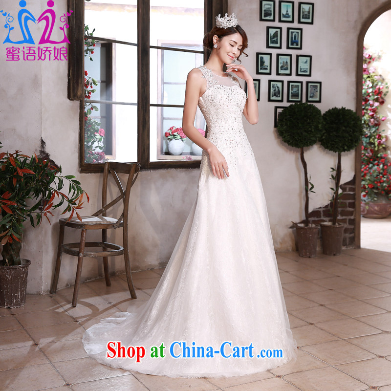 Honey, bride wedding dresses 2015 New Field shoulder for cultivating small tail stylish larger graphics thin bridal wedding white XXL