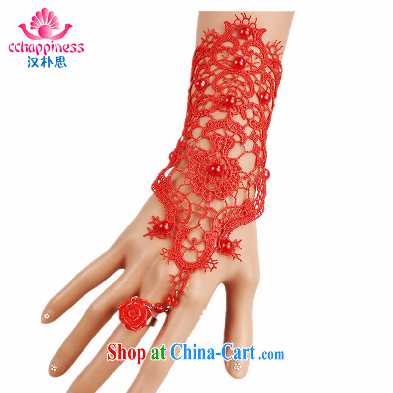 Han Park _cchappiness_ Marriages jewelry wedding red lace accessories hand strap rings a fall jewelry single red