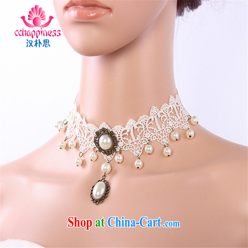 2015 Han Park (cchappiness) bride white lace-beads plain manual original retro collarbone neck chain jewelry with white marriage