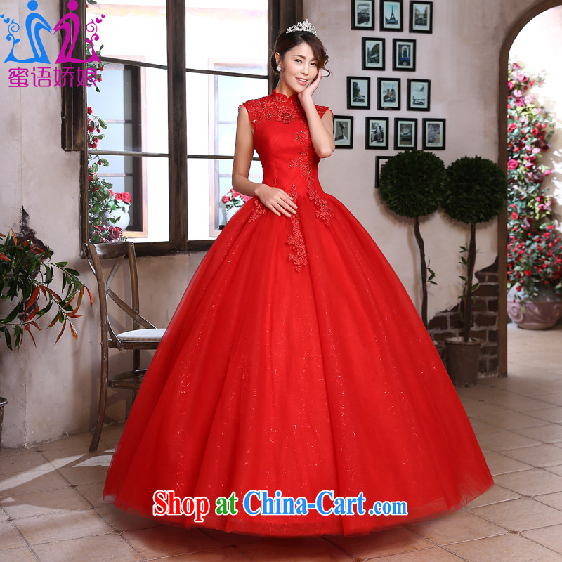 Honey, bride wedding dresses 2015 spring and summer new Fatah-antique Palace with the collar marriages red wedding red XXL