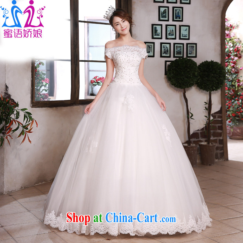 Honey, bride wedding dresses Korean style 2015 New Field shoulder collar with lace elegant antique large code beauty graphics thin wedding white XXL